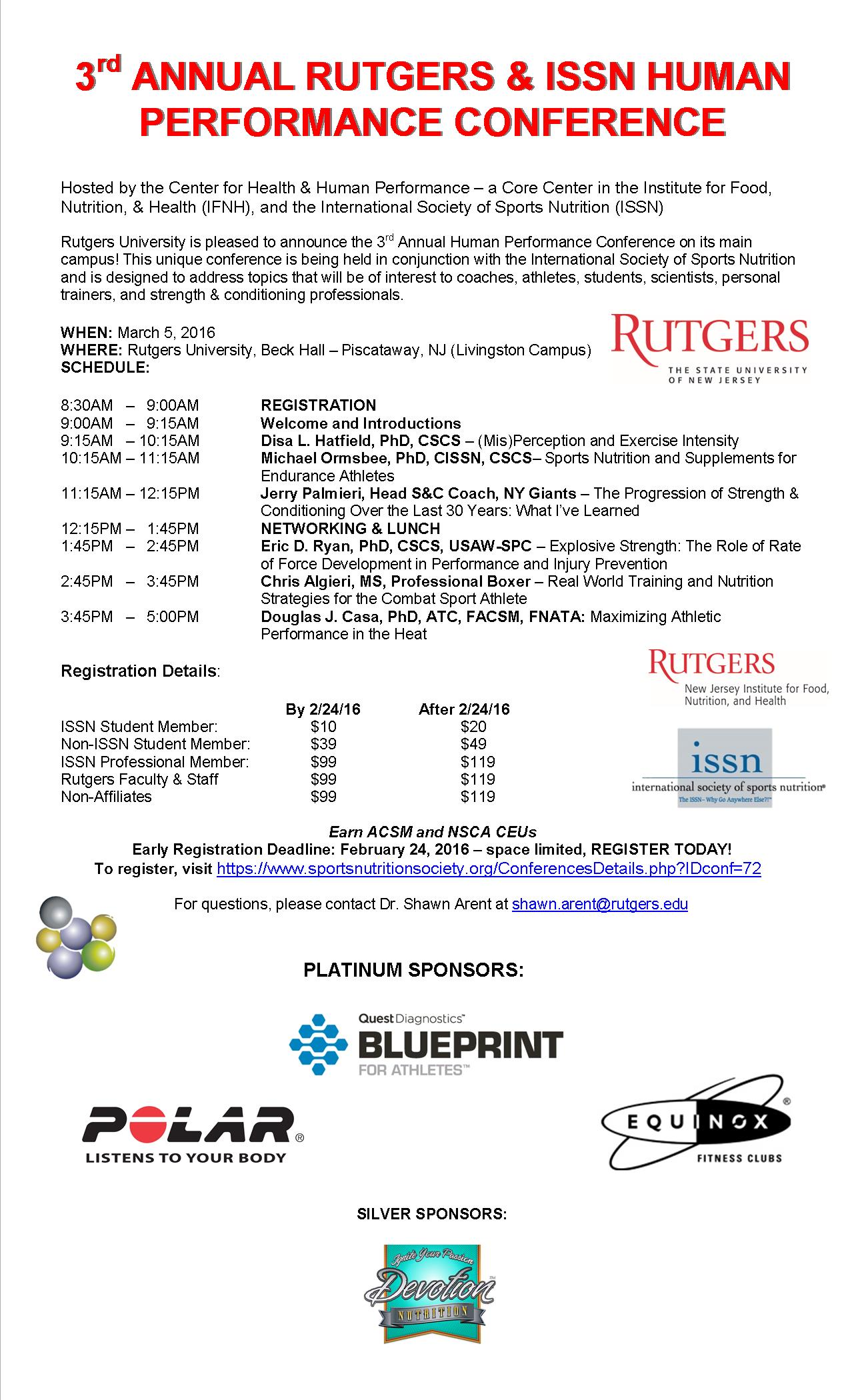 3rd Annual Rutgers Human Performance Conference ISSN Jan 2016
